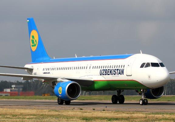 Самолет Airbus-A320 авиакомпании Узбекистон Хаво Йуллари